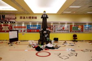 Remains of protest on trashed Hong Kong university campus