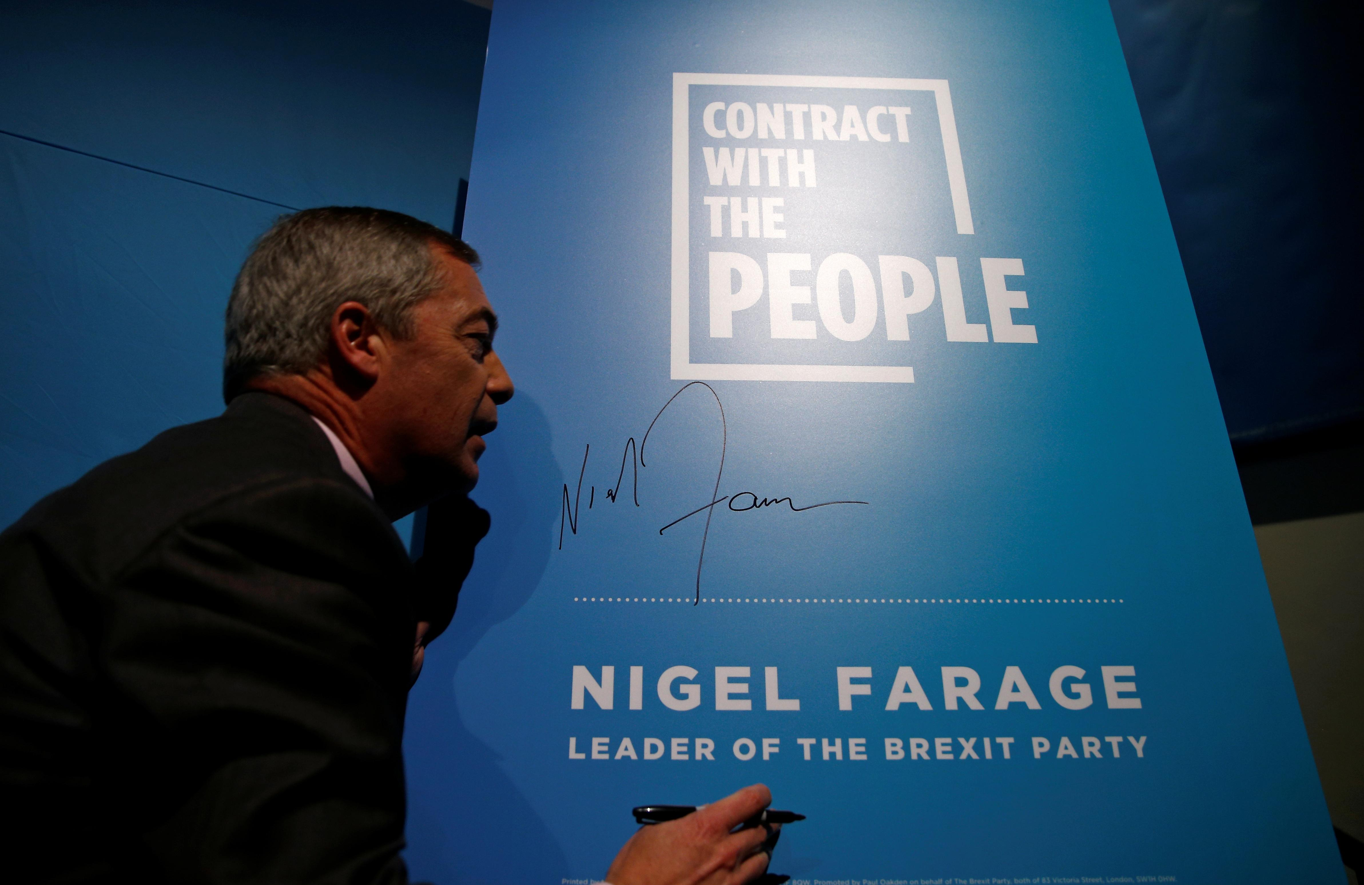 ON THE CAMPAIGN TRAIL - Nigel Farage signs contract with voters