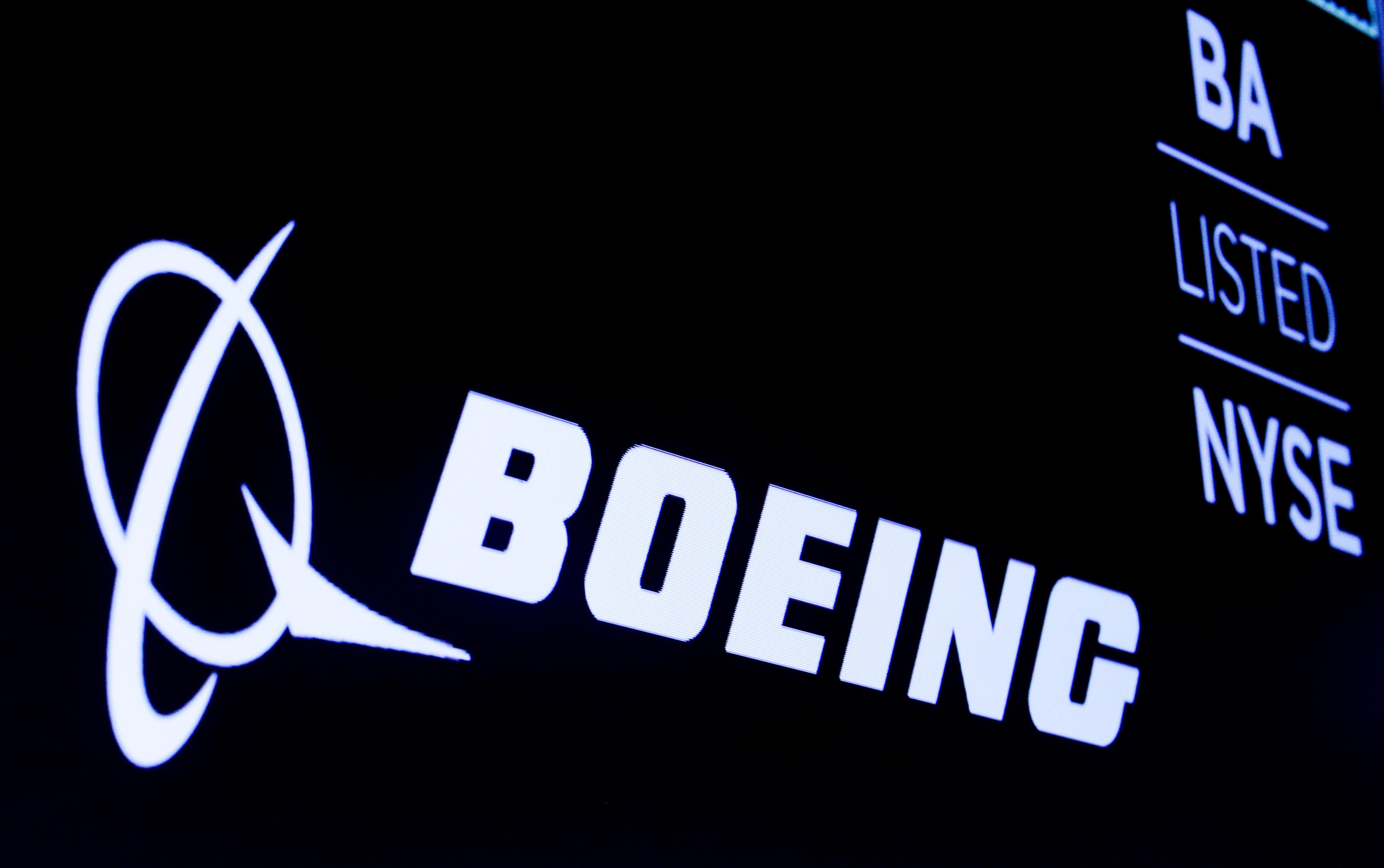 FIL EPHOTO: The Boeing logo is displayed on a screen, at the New York Stock Exchange (NYSE) in New York, U.S., August 7, 2019. Brendan McDermid