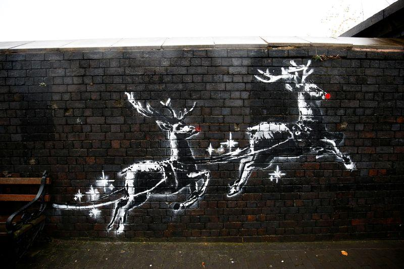 Banksy's flying reindeer highlight Christmas homeless plight