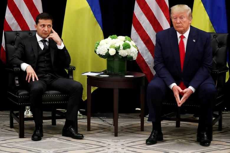 Ukraine's President Volodymyr Zelenskiy listens during a bilateral meeting with U.S. President Donald Trump on the day the White House released a memo summarizing a July 25 call between the two leaders, on the sidelines of the United Nations General Assembly in New York City, September 25, 2019. REUTERS/Jonathan Ernst