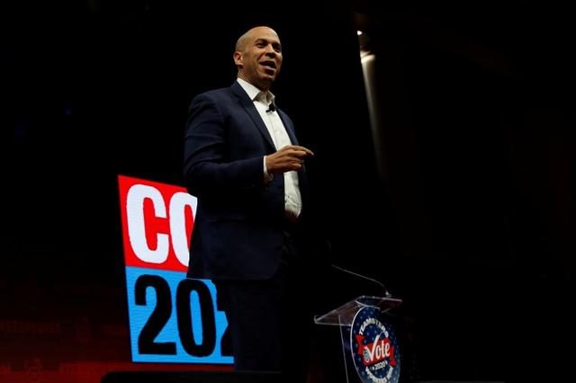 FILE PHOTO: Democratic presidential candidate Senator Cory Booker  speaks during the Teamsters Vote 2020 Presidential Forum in Cedar Rapids, Iowa, U.S., December 7, 2019. REUTERS/Shannon Stapleton