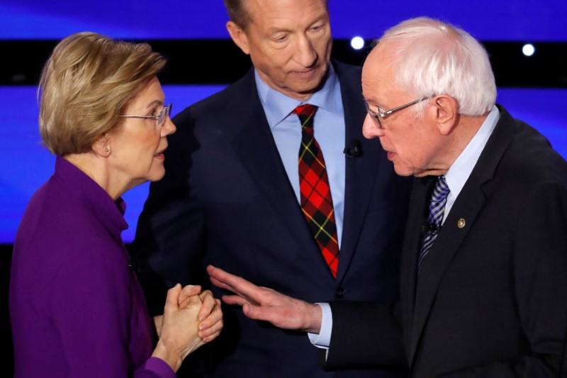 Sanders, Warren spar over disputed remark about chances of a woman candidate defeating Trump