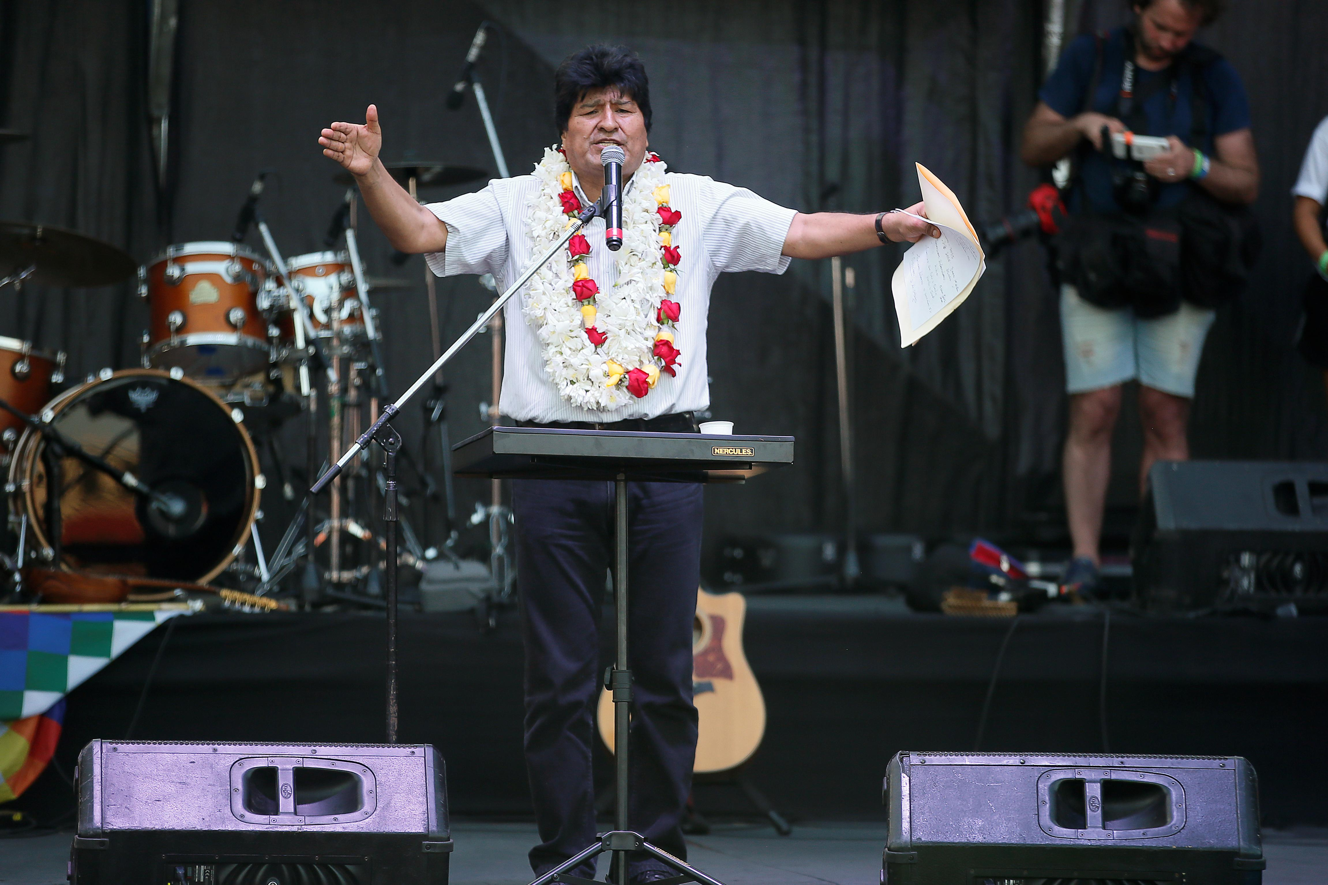 Former Bolivian leader Morales holds rally in Argentina marking end...