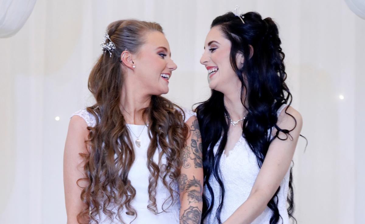 Here come the brides in Northern Ireland's first same-sex marriage