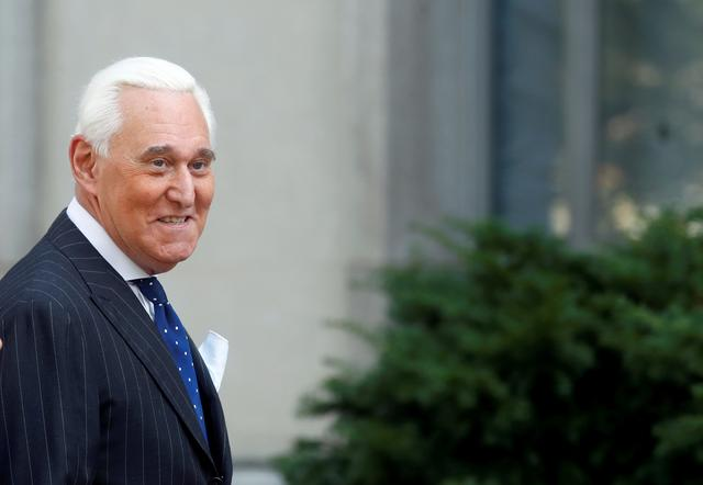 FILE PHOTO: Roger Stone, former campaign adviser to U.S. President Donald Trump, arrives for the continuation of his criminal trial on charges of lying to Congress, obstructing justice and witness tampering at U.S. District Court in Washington, U.S., November 15, 2019. REUTERS/Yara Nardi/File Photo