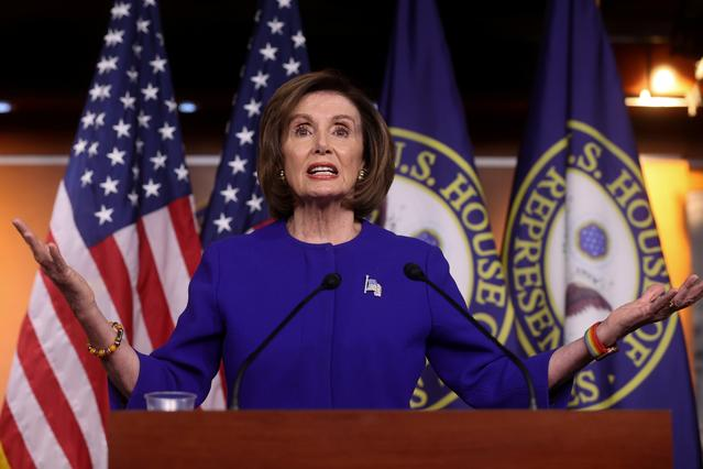 U.S. House Speaker Nancy Pelosi (D-CA) holds her weekly news conference at the Capitol in Washington, U.S. February 13, 2020.  REUTERS/Jonathan Ernst