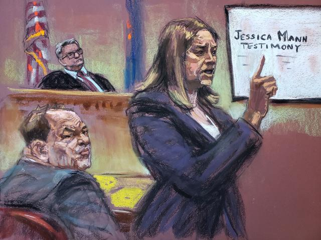 Prosecutor Joan Illuzzi-Orbon gives her closing arguments in front of Judge James Burke at New York Criminal Court for Harvey Weinstein's sexual assault trial in the Manhattan borough of New York City, New York, U.S., February 14, 2020 in this courtroom sketch.  REUTERS/Jane Rosenberg