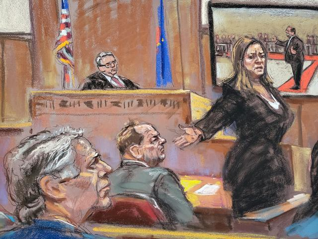 Manhattan District Attorney Cyrus Vance, Jr. watches as prosecutor Joan Illuzzi-Orbon gives her closing arguments in front of Judge James Burke at New York Criminal Court for Harvey Weinstein's sexual assault trial in the Manhattan borough of New York City, New York, U.S., February 14, 2020 in this courtroom sketch.  REUTERS/Jane Rosenberg