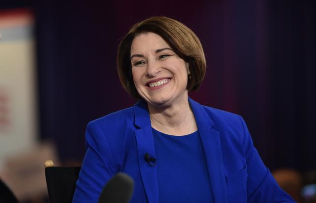 Senator Amy Klobuchar smiles during an interview after the ninth Democratic 2020 U.S. Presidential candidates debate at the Paris Theater in Las Vegas, Nevada, U.S., February 19, 2020. REUTERS/David Becker