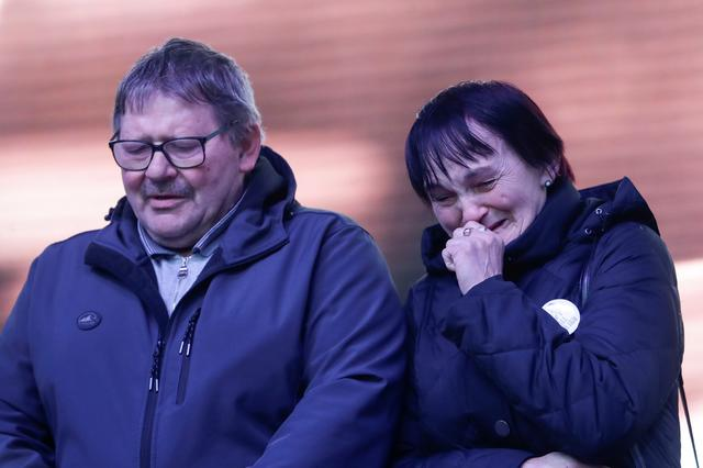 Parents of Jan Kuciak take part in a protest rally marking the second anniversary of the murder of the investigative reporter Jan Kuciak and his fiancee Martina Kusnirova, one week ahead of country's parliamentary election in Bratislava, Slovakia, February 21, 2020. REUTERS/David W. Cerny