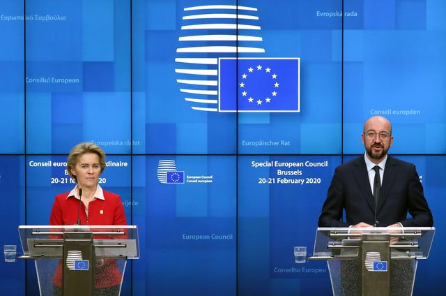 European Commission President Ursula von der Leyen and European Council President Charles Michel speak at a news conference after the second day of the European Union leaders summit, held to discuss the EU's long-term budget for 2021-2027, in Brussels, Belgium, February 21, 2020. REUTERS/Yves Herman