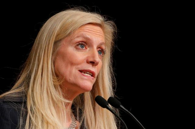 FILE PHOTO: Federal Reserve Board Governor Lael Brainard speaks at the John F. Kennedy School of Government at Harvard University in Cambridge, Massachusetts, U.S., March 1, 2017. REUTERS/Brian Snyder