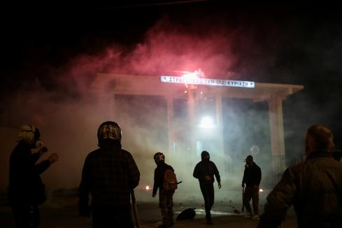 Greek islanders protest construction of migrant centers