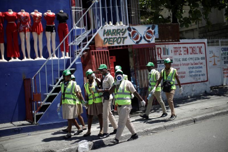 Haiti's Scouts set up mobile hand washing sinks to ward off coronavirus
