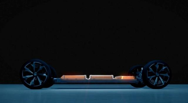 An undated handout photo from General Motors shows the ''skateboard'' of one of its six new  different types of electric vehicles that can accommodate the automaker's flexible battery pack.   General Motors/Handout via REUTERS