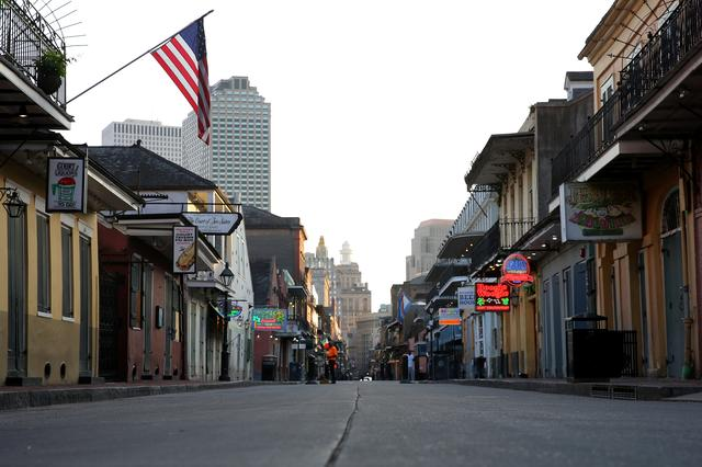 FILE PHOTO: A view of Bourbon Street amid the outbreak of the coronavirus disease (COVID-19), in New Orleans, Louisiana, U.S. March 25, 2020. REUTERS/Jonathan Bachman/File Photo