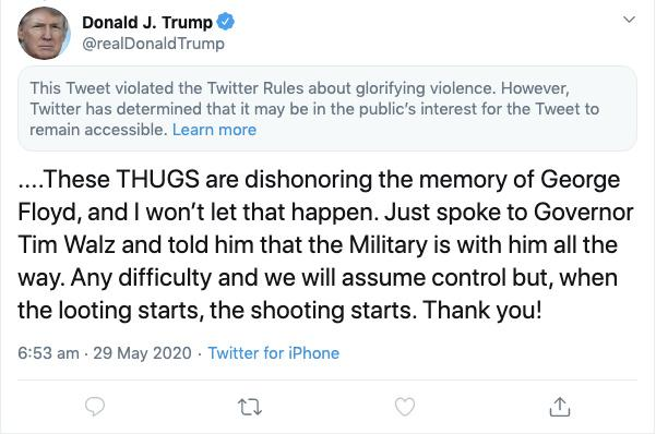 Twitter attaches disclaimer to Trump tweet for 'glorifying violence'