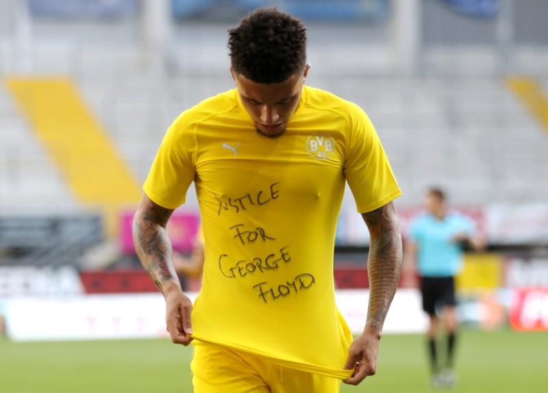 Soccer: Hat-trick hero Sancho wears 'Justice for George Floyd' shirt