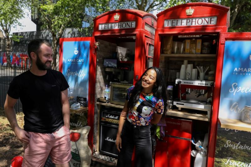 Caffeine calling: London phone boxes serve up coffee after lockdown