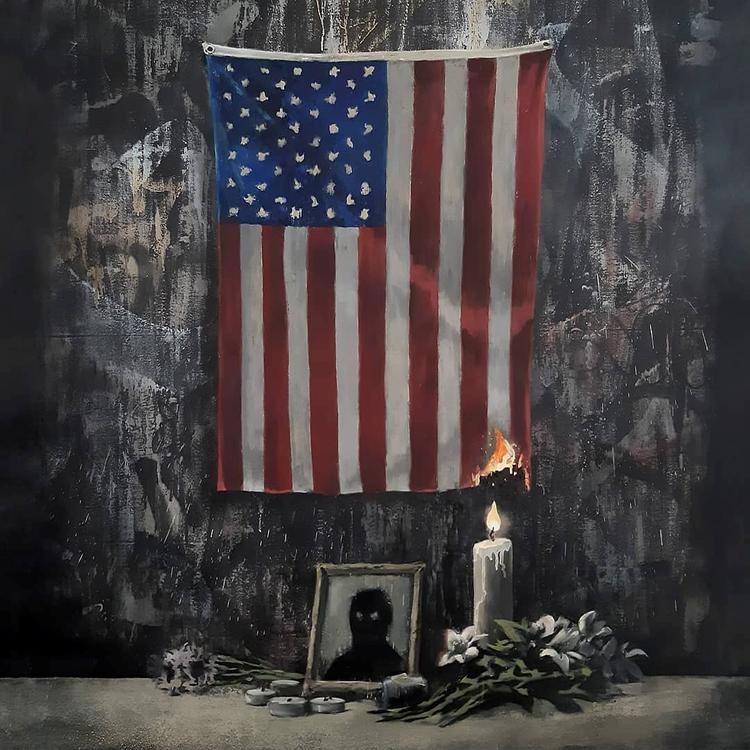 Britain's Banksy depicts U.S. flag on fire in Floyd tribute