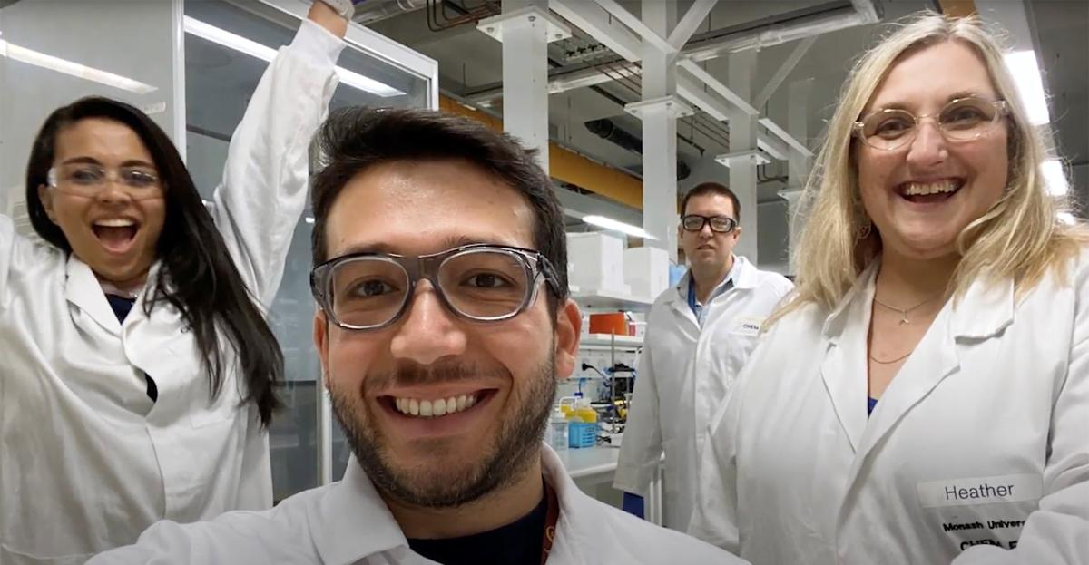 Members of a research team, led by Monash University, pose for a photo in Melbourne, Australia, in this screen grab taken from an undated handout video. MONASH UNIVERSITY DEPARTMENT OF CHEMICAL ENGINEERING/Handout via REUTERS