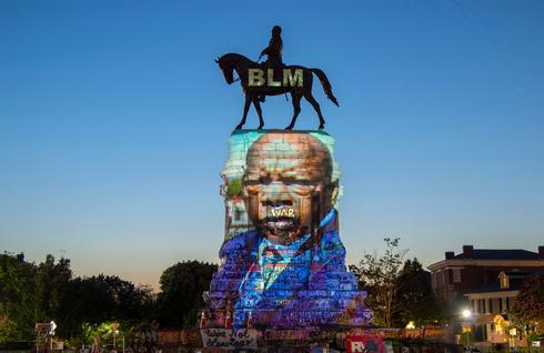 Robert E. Lee statue transformed into canvas for Black Lives Matter projections