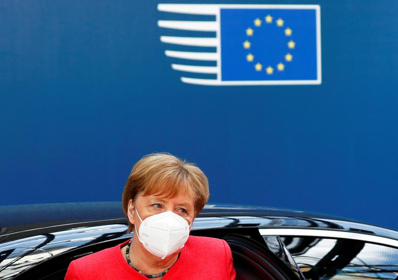 German Chancellor Angela Merkel arrives for a meeting of the first face-to-face EU summit since the coronavirus outbreak began, in Brussels, Belgium, July <span dir=
