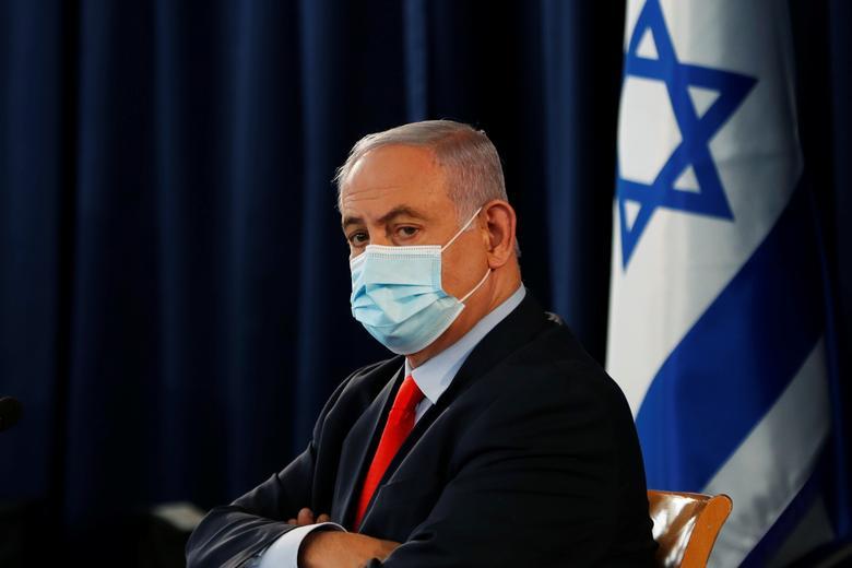 Israeli Prime Minister Benjamin Netanyahu during the weekly cabinet meeting in Jerusalem, May <span dir=