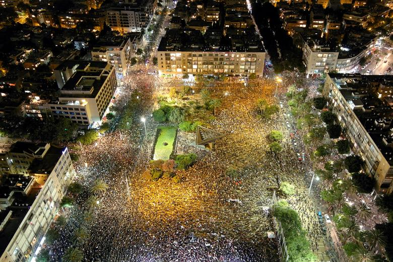 A general view shows Rabin square as Israelis protest against the government's response to the financial fallout of the coronavirus crisis in Tel Aviv, Israel July 11, <span dir=