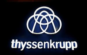 FILE PHOTO: Thyssenkrupp's logo is seen outside elevator test tower in...
