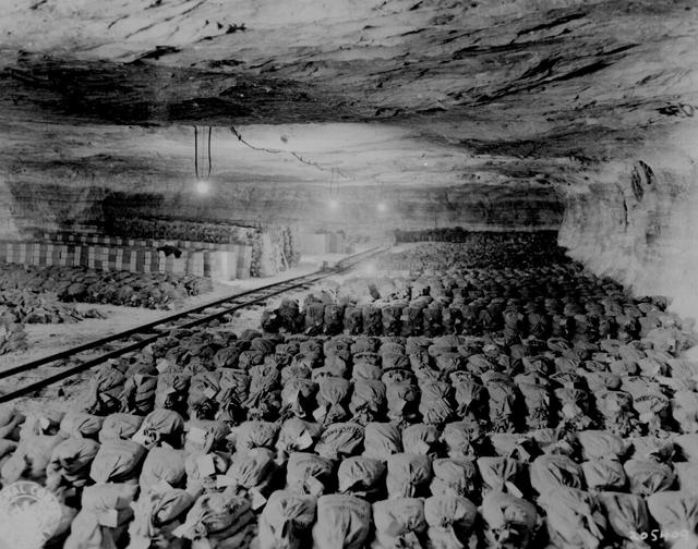 The U.S. 90th Division discovered this Reichsbank wealth, SS loot, and Berlin museum paintings that were removed from Berlin to a salt mine in Merkers, Germany, April 15, 1945. U.S. National Archives/via REUTERS