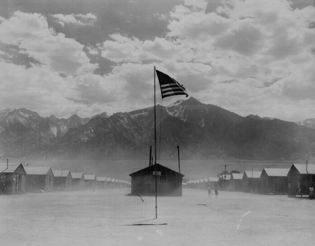 A dust storm at the War Relocation Authority center, where evacuees of Japanese ancestry in the United States spent the duration of World War Two, in Manzanar, California, July 3, 1942. U.S. National Archives/Dorothea Lange/via REUTERS