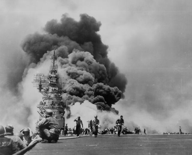 The USS Bunker Hill after being hit by two kamikazes within 30 seconds off Kyushu, May 1945. U.S. National Archives/via REUTERS