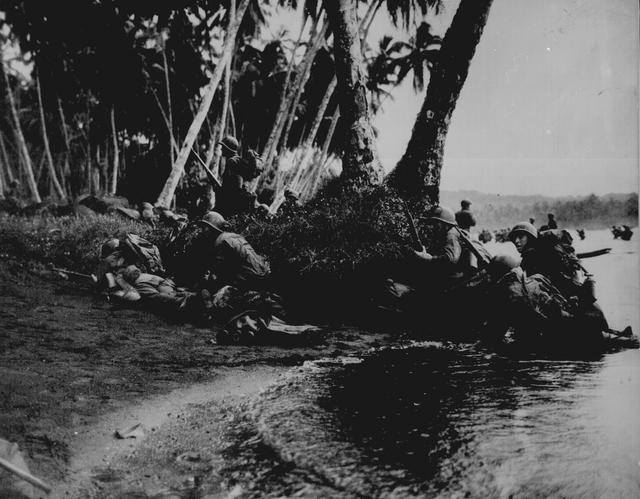 U.S. soldiers are pictured during landing operations on Rendova Island, Solomon Islands, June 1943. U.S. National Archives/via REUTERS