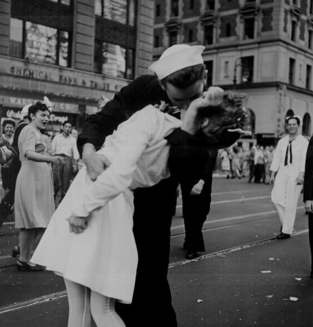 People in New York City\u0027s Times Square kiss while celebrating the surrender of Japan, August 14, 1945. U.S. National Archives/via REUTERS