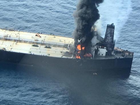 Oil supertanker catches fire off Sri Lanka