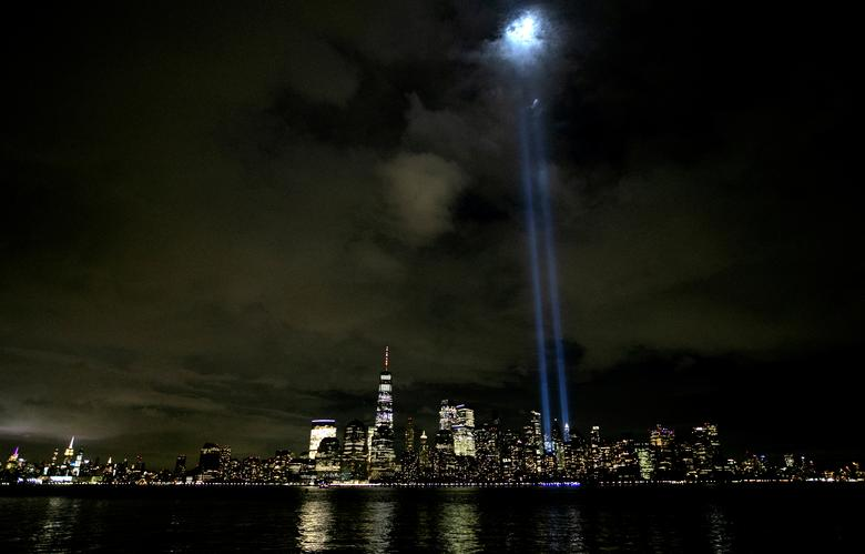 The Tribute In Light shines above the skyline of lower Manhattan on the eve of the 19th anniversary of the September 11, 2001 attacks on the World Trade Center in New York City, as seen from Jersey City. REUTERS/Mike Segar
