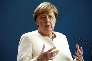 German Chancellor Merkel holds a video news conference with EU Council...