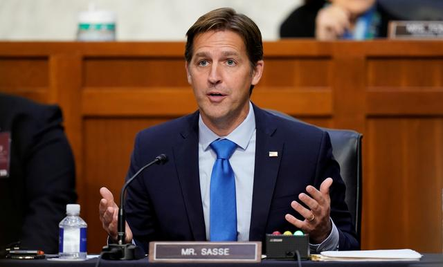 FILE PHOTO: U.S. Senator Ben Sasse speaks during Senate Judiciary Committee confirmation hearings for Supreme Court nominee Judge Amy Coney Barrett on Capitol Hill in Washington, U.S., October 14, 2020.  Patrick Semansky/Pool via REUTERS/File Photo
