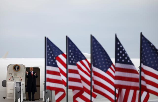 U.S. President Donald Trump arrives at a campaign rally at Muskegon County Airport in Muskegon, Michigan U.S., October 17, 2020. REUTERS/Carlos Barria