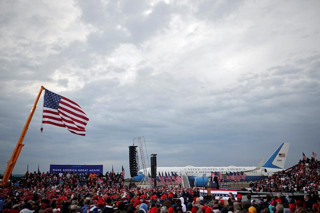 U.S. President Donald Trump speaks during a campaign rally at Muskegon County Airport in Muskegon, Michigan, U.S., October 17, 2020. REUTERS/Carlos Barria