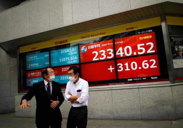 FILE PHOTO: Men wearing protective face masks chat in front of a screen displaying Nikkei share average and world stock indexes outside a brokerage,in Tokyo, Japan October 5, 2020.  REUTERS/Issei Kato
