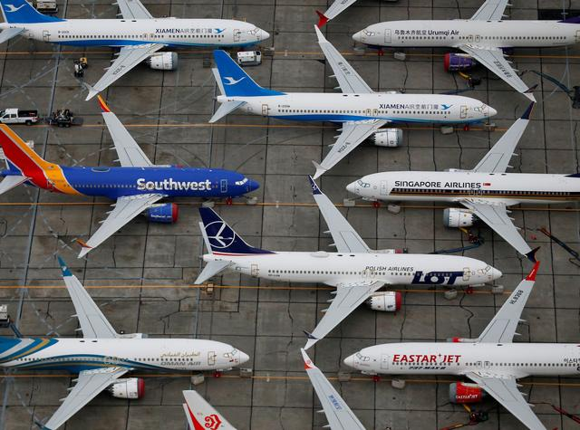 FILE PHOTO: Grounded Boeing 737 MAX aircraft are seen parked at Boeing facilities at Grant County International Airport in Moses Lake, Washington, U.S. November 17, 2020.  REUTERS/Lindsey Wasson/File Photo