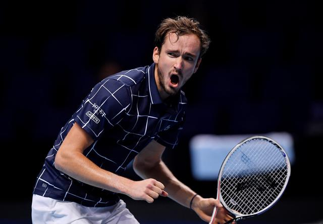 Tennis - ATP Finals - The O2, London, Britain - November 21, 2020  Russia's Daniil Medvedev reacts during his semi-final match against Spain's Rafael Nadal   REUTERS/Toby Melville