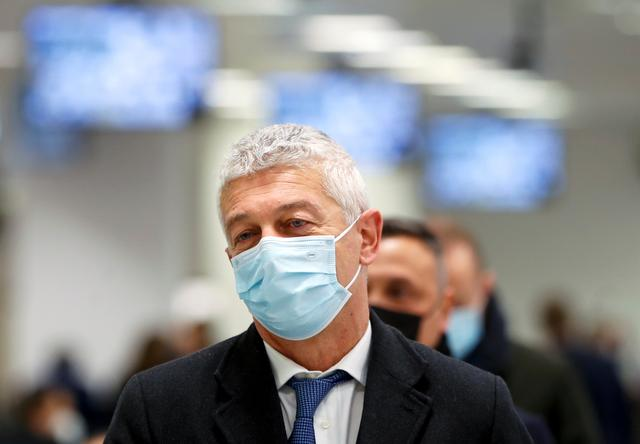 Nicola Morra, President of the Italian Parliamentary Anti-Mafia Commission, arrives at the High Security Courthouse for a trial of 355 suspected members of the 'Ndrangheta mafia accused of an array of charges, in Lamezia Terme, Italy, January 13, 2021. REUTERS/Yara Nardi