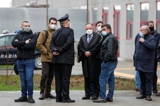 Prosecutor Nicola Gratteri stands outside during a pause in a trial against more than 320 suspected 'Ndrangheta mafia mobsters and their associates, accused of an array of charges, in Lamezia Terme, Italy, January 13, 2021. REUTERS/Yara Nardi