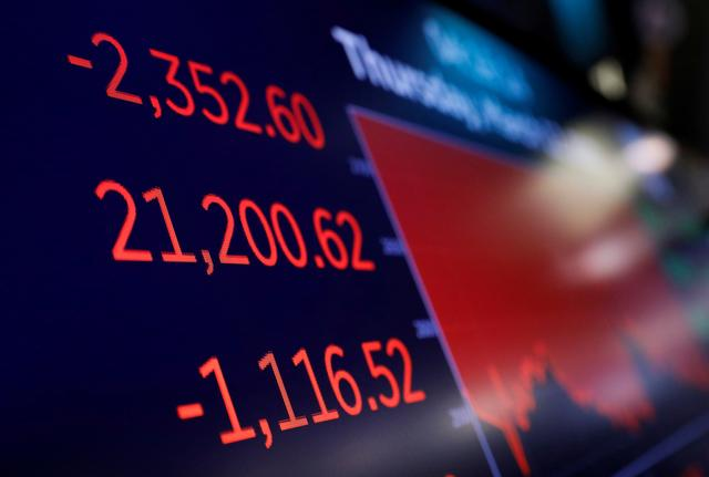 FILE PHOTO: A price screen display above the floor of the New York Stock Exchange (NYSE) after the close of trading in New York, U.S., March 12, 2020. REUTERS/Brendan McDermid/File Photo