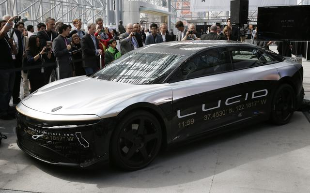 FILE PHOTO: The Lucid Air speed test car is displayed at the 2017 New York International Auto Show in New York City, U.S. April 13, 2017. REUTERS/Andrew Kelly