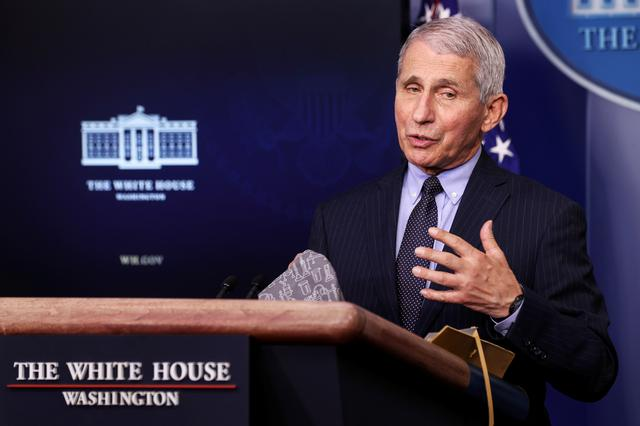 FILE PHOTO: National Institute of Allergy and Infectious Diseases Director Anthony Fauci addresses the daily press briefing at the White House in Washington, U.S. January 21, 2021. REUTERS/Jonathan Ernst